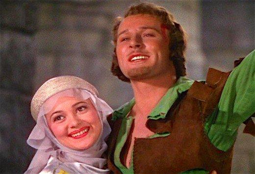 Olivia de Havilland and Errol Flynn in 1938's The Adventures of Robin Hood.