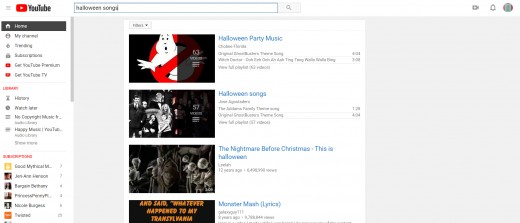 "Here is a screenshot of a ""Halloween songs"" search on YouTube."