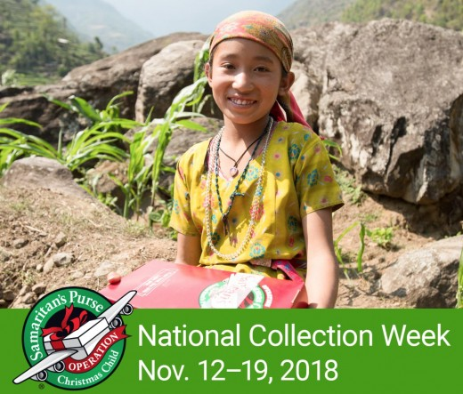 The 2018 National Collection Week for Operation Christmas Child is November 12-19.