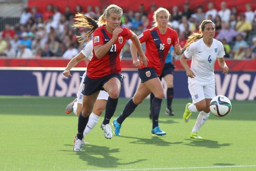 Hegerberg in action for Norway at the 2015 FIFA Women's World Cup