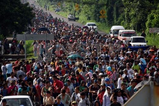 The Honduran caravan marches through Guatemala
