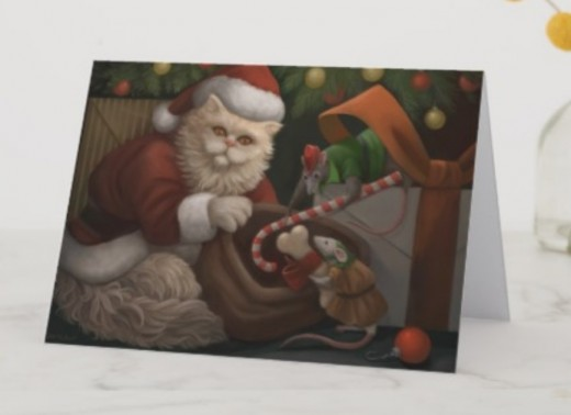 What a dreamy Santa Paws and the mouse elves are cute! It has a matching stamp, too.