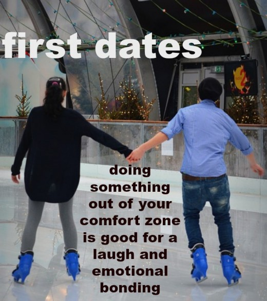 Going ice skating or roller skating on a first date can help you discern if you're a match.