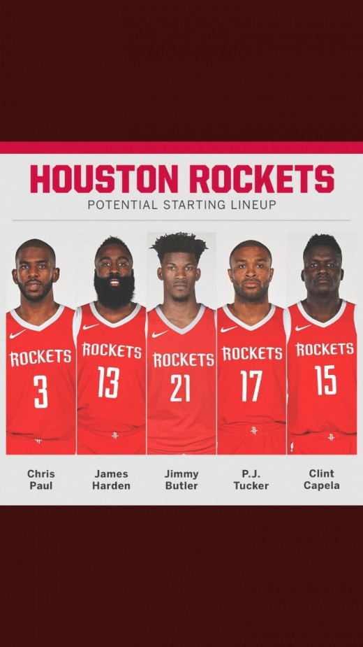 Rockets starting lineup with Jimmy Butler