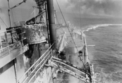 The USS Liberty evading an Israeli torpedo.