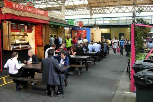 Food stalls at Old Spitalfields Market