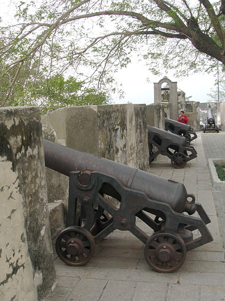 Cannons line the fortress is a replica during 1860.