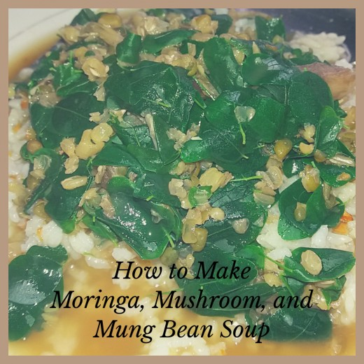 how to make moringa, mushroom, and mung bean soup