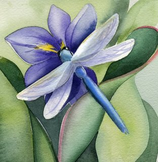 Watercolor by Amy Hautman http://amyhautman.blogspot.com/2008/04/blue-dragonfly.html