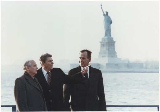 Gorbachev meets with President Ronald Reagan in New York City.