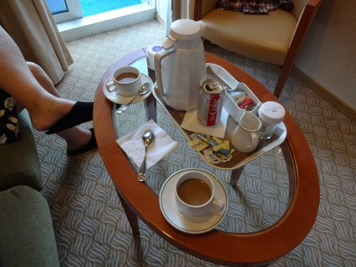 Each morning we had coffee and juice delivered to the room. What a treat.