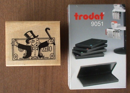 monopoly man custom stamp with trodat 9051 ink pad