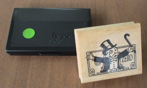 monopoly man custom stamp with trodat 9051 green ink pad