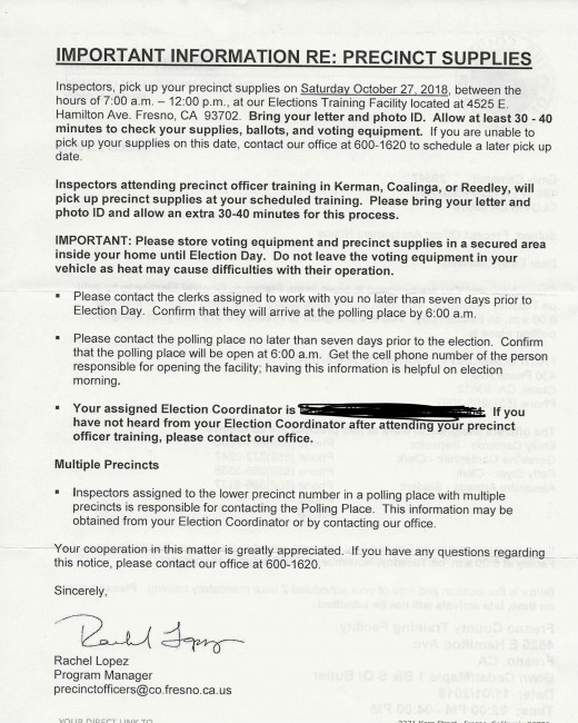 Letter from Fresno County election officials to election workers