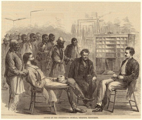 Office of the Freedmen's Bureau, Memphis, Tennessee. (1866) From Harper's weekly : a journal of civilization. (New York: Harper' s Weekly Co., 1857-1916).