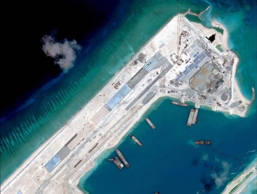 China's expanding the construction of its facilities on Fiery Cross Reef. Provided by the Asia Maritime Transparency Initiative (AMTI).