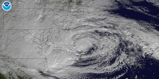 Overhead view of hurricane Sandy