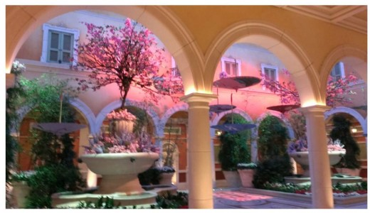 View from the front desk in spring. I took this photo several years ago during their Spring decorations.