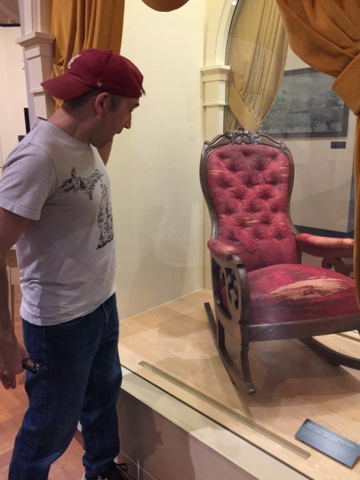 This is the chair that Abraham Lincoln was sitting in Ford's Theater when he was shot by John Wilkes Booth