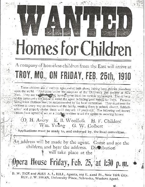 Flyer for the orphan train, soliciting adoptive families