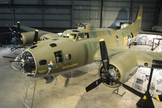 Boeing B-17F Memphis Belle on display in the WWII Gallery at the National Museum of the US Air Force.
