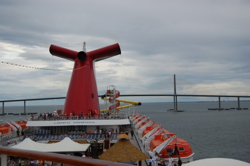View from upper deck of Carnival Inspiration, shortly after going beneath the Skyway Sunshine Bridge in Tampa, Florida