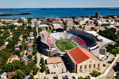Photo of U of W stadium in Madison -- Wisconsin is not all farmland!