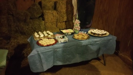 Simple finger foods, cookies, cupcakes , etc.. I'm sure your guests wouldn't mind contributing.