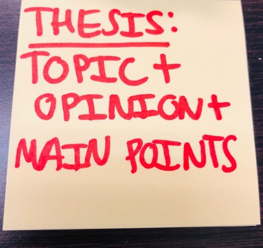 A strong thesis statement includes all three elements: topic, opinion, and main points.
