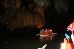 inside the cave on the underground river