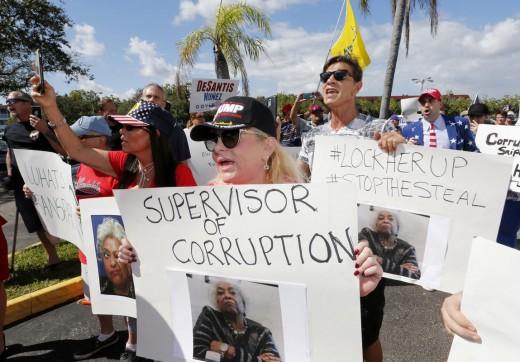 Protesters outside of Broward County elections office.