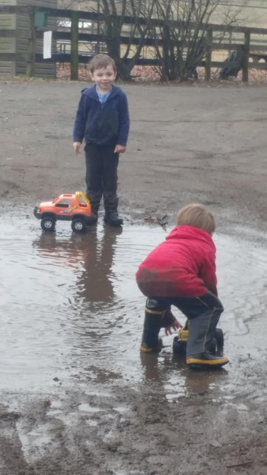 My nephews appreciate rainy muddy weather on the farm, me , not so much!