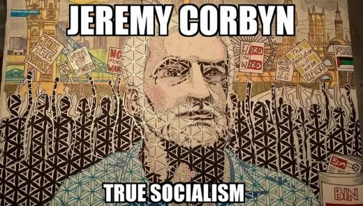 Mural of Labour leader Jeremy Corbyn.