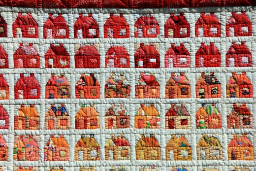 A sample of patchwork quilting attached with hand stitching. Many hours of labor are needed to make this quilt project.