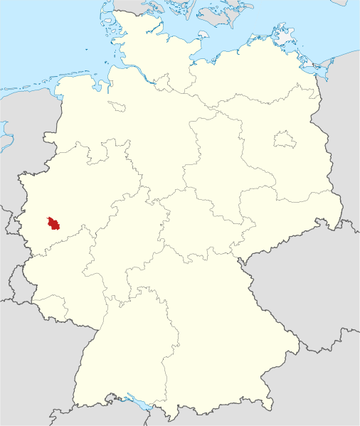 Map location of Cologne in North Rhine-Westphalia, Germany.