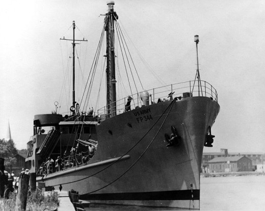 The FP-344 while it was serving as a U.S. Army cargo vessel.  It was later redesignated and renamed the USS Pueblo.