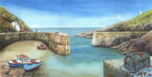 Porthgain Harbour watercolour by Helen Lush