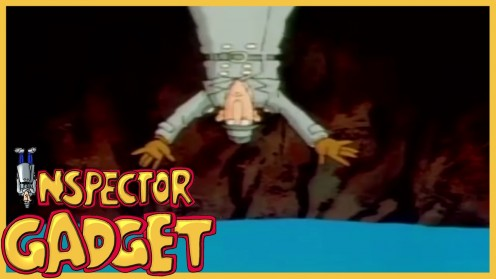 Inspector Gadget falls into water after being thrown out of a fast moving elevator.