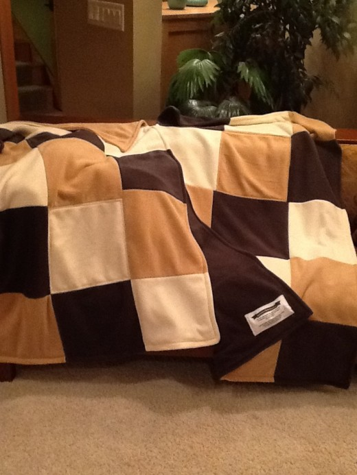 3 quilts made from 3 solids.