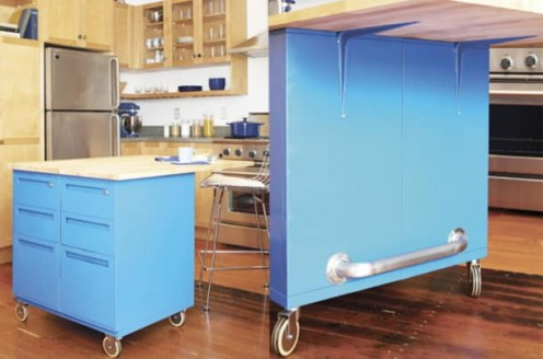 Paint can turn a drab old filing cabinet into a trendy kitchen island.