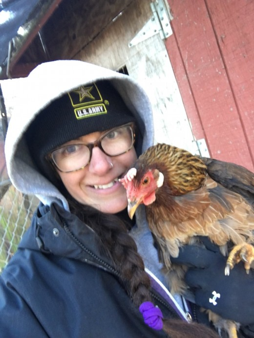 Even the chickens need cuddling to stay warm in the winter!