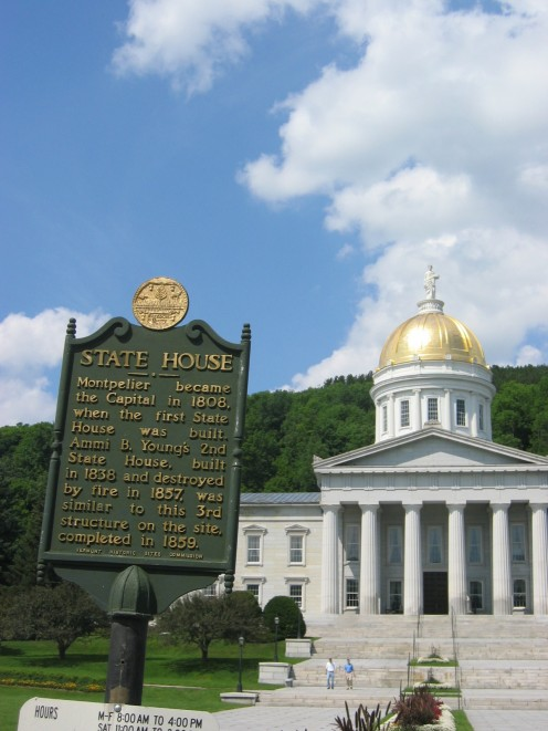 Historic plaque at Vermont State Capitol, Montepelier, Vermont.