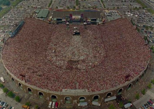 An aerial shot of Live Aid.