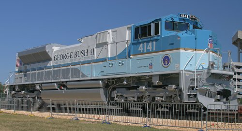 "After his funeral in Washington D.C., President George H.W. Bush went home to Texas, where he was loaded onto Union Pacific ""4141"", painted in the colors of Air Force One to take him to his final rest at a wooded area at his Presidential Library."