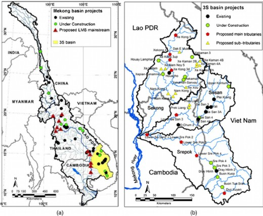 Hydropower projects in Mekong Basin: (a) existing, under construction, and proposed LMB mainstream projects; (b) existing, under construction, and proposed hydropower development in 3S basin