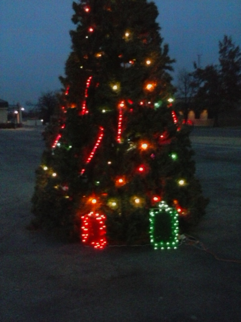"2013-2016 Community Christmas Tree: Ornaments placed ""in memory of"" by local residents, Installed by Eric Standridge"