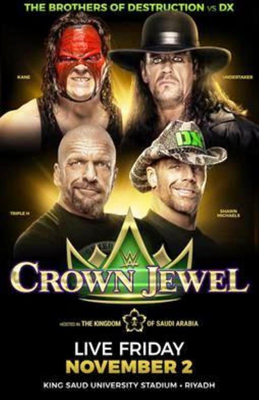 Promotional poster featuring KANE, The Undertaker, Triple H, and Shawn Michaels.