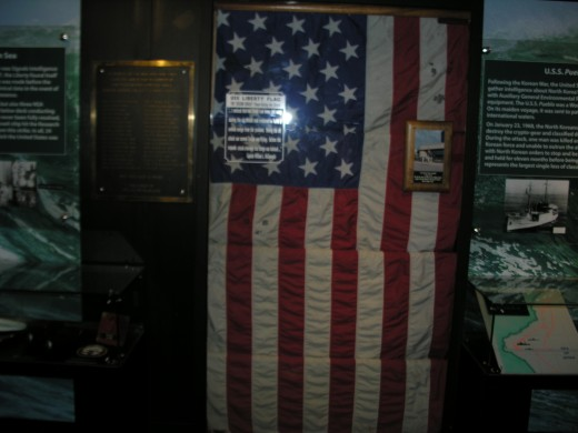 The ensign the USS Liberty was flying when it was attacked by Israeli torpedo boats.