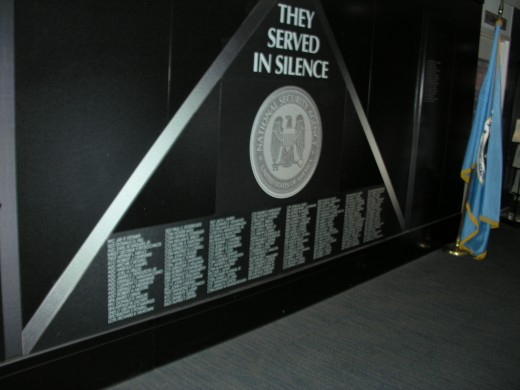 An memorial wall to those who died in cryptologic service.