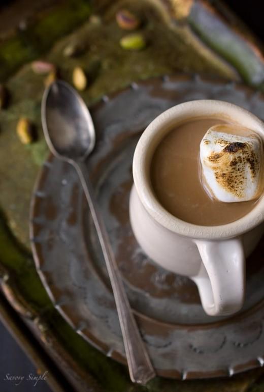 Pistachio Cardamom Hot Chocolate